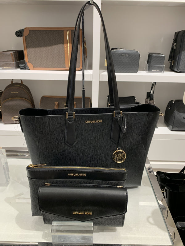 Michael Kors Kimberly Large 3 In 1 Tote In Black
