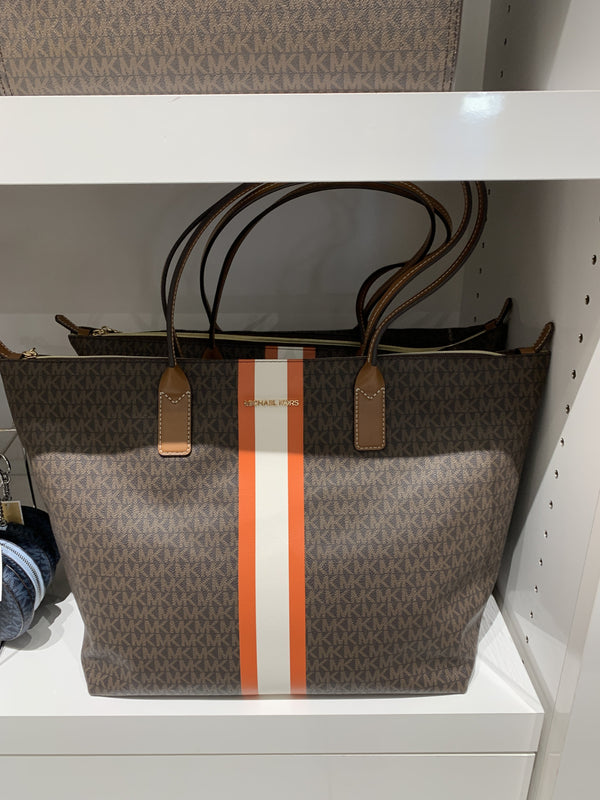 Michael Kors Travel Large TZ Tote In Monogram Brown Stripe Tangerine
