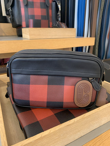 Coach Graham Crossbody In Black Red Buffalo Plaid