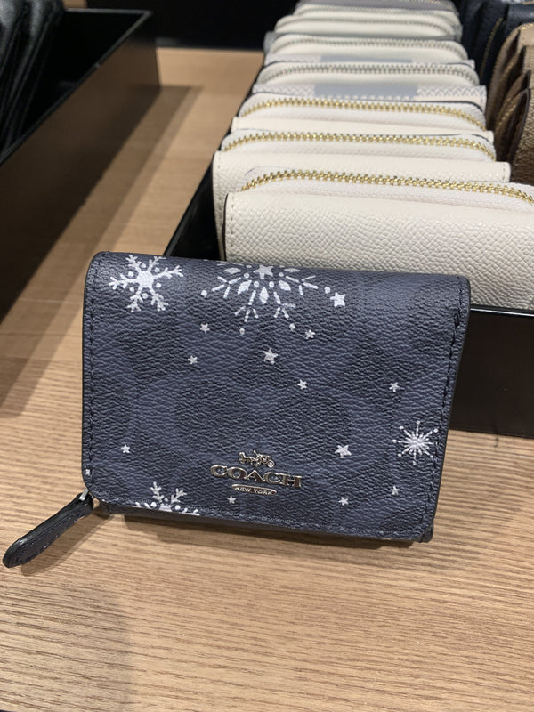 Coach Small Trifold Wallet In Signature Midnight Snowflake