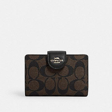 Coach New Medium Corner Zip Wallet In Signature Brown Black
