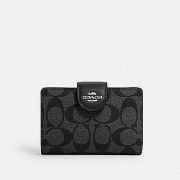 Coach New Medium Corner Zip Wallet In Signature Smoke Black