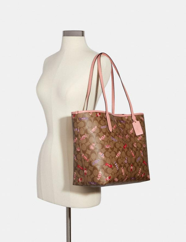 Coach Open City Tote In Signature With Candy Print Khaki Multi