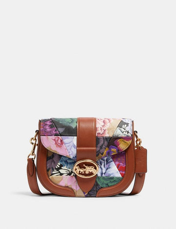 Coach Georgie Saddle Bag With Patchwork Kaffe Fassett Print