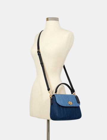 Coach Marlie Top Handle Satchel With Quilting Denim Multi