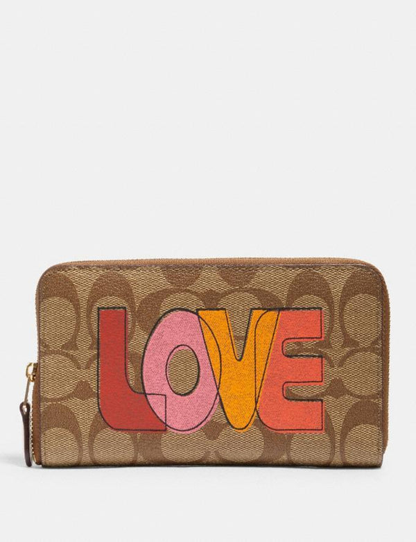 Coach Medium Id Zip Wallet In Signature Khaki Chalk Multi Love