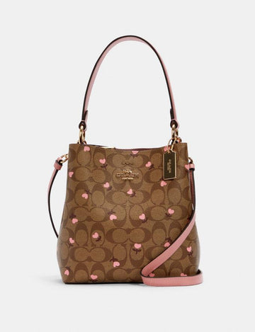 Coach Small Town Bucket Bag In Signature Khaki Red Multi Wine With Heart Floral Print