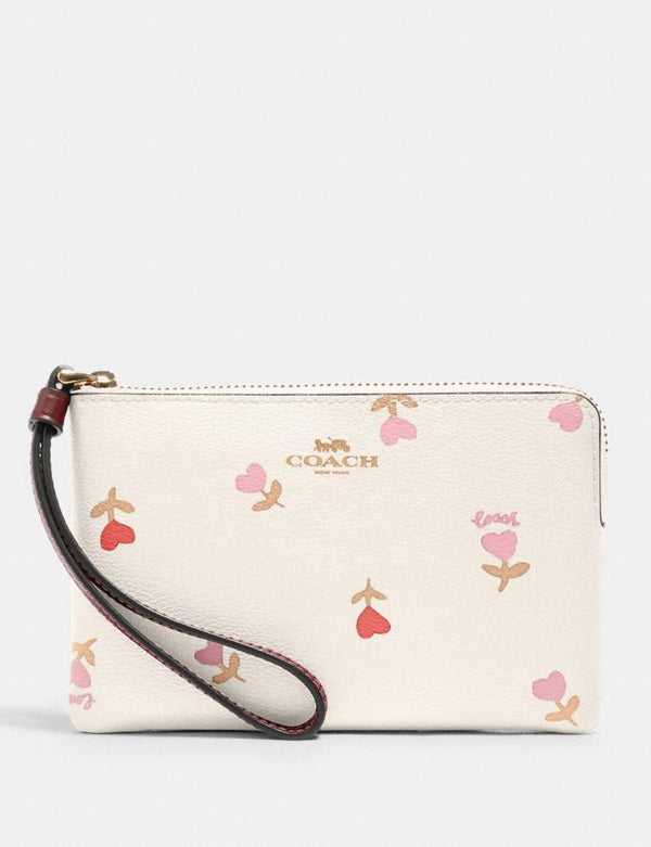 Coach Small Corner Zip Wristlet In Signature With Heart Floral Print Chalk Multi