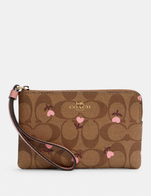 Coach Small Corner Zip Wristlet In Signature With Heart Floral Print Khaki Red Multi