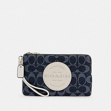 Coach Dempsey Large Double Zip Wristlet In Signature Jacquard With Patch In Denim