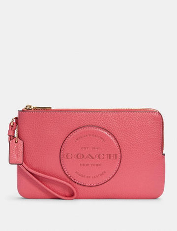 Coach Dempsey Double Zip Wristlet With Patch In Fuchsia