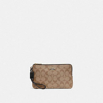 Coach Large Double Zip Wristlet In Signature Khaki Black