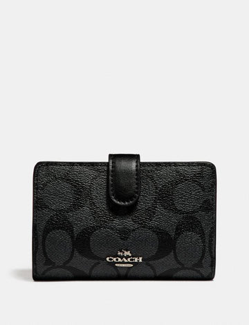 Coach Medium Corner Zip Wallet In Signature Black Smoke