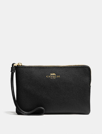 Coach Small Single Corner Zip Wristlet In Leather Black