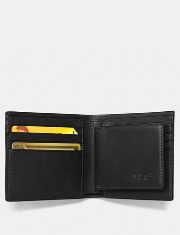 Coach 3-in-1 Men's Wallet In Black Pebbled Leather