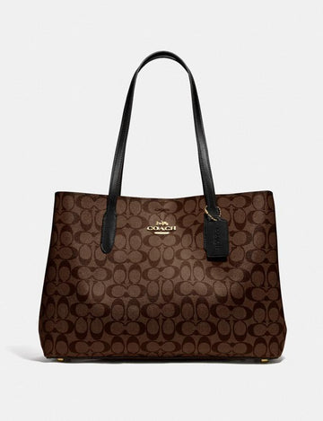 Coach Large Avenue Carryall In Signature Brown Black