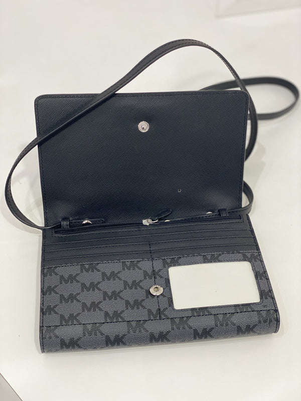 Michael Kors Jet Set Travel Large Multifunction Phone Crossbody In Monogram Black