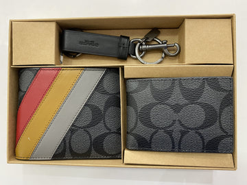 Coach Men Gift Set Box Wallet In Signature Charcoal