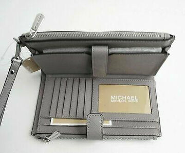 Michael Kors Large Double Zip Phone Wristlet In Optic White