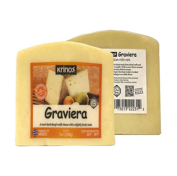 Krinos Graviera Cheese (Semi-Hard Sheep's Milk Cheese with A Fruity Taste) 200g