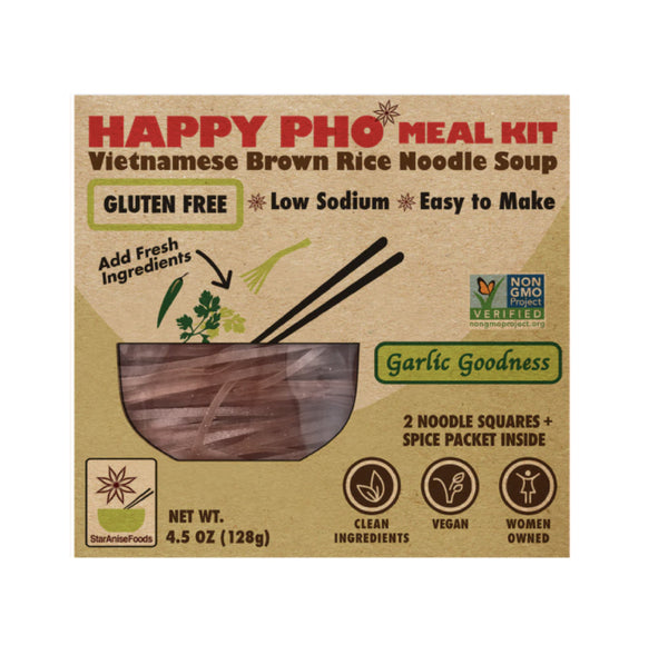 Happy Pho Meal Kit Garlic Goodness Vietnamese GF Brown Rice Noodle 4.5oz