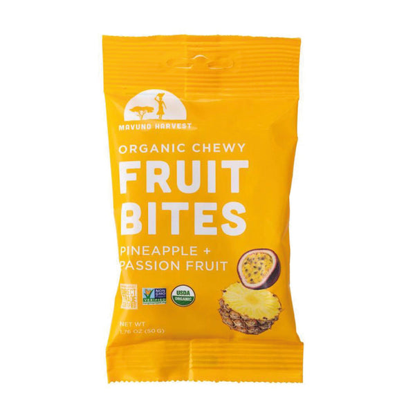 Mavuno Harvest Organic Chewy Fruit Bites Pineapple&Passion Fruit 50g