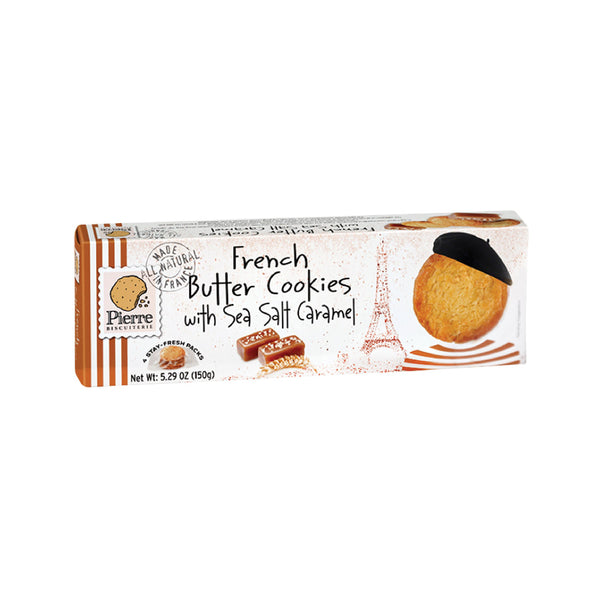Pierre Biscuiterie French Butter Cookies with Sea Salt Caramel 5.29oz
