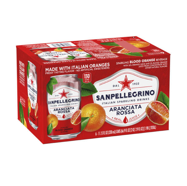 San Pellegrino Aranciata Rossa (Blood Orange) Soda Cans 6x11.15floz
