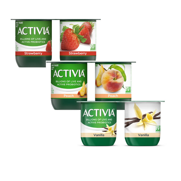Activia Yogurt, Mixed Vanilla, Peach, Stawberry 6x4oz