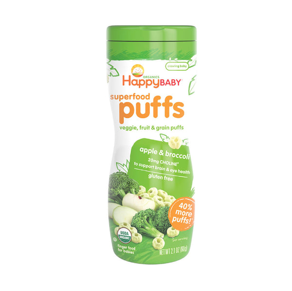 Happy Baby Puffs Organic Apple&Broccoli 60g
