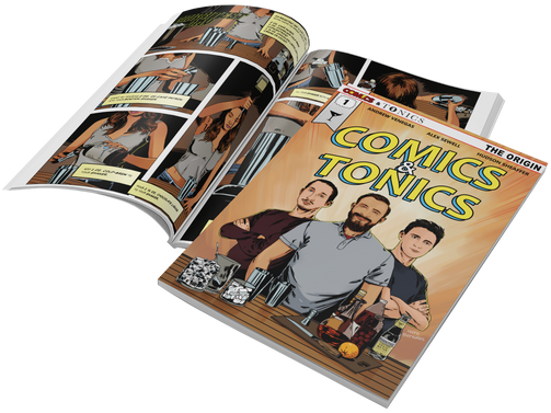 Comics and Tonics book, cover and opened page