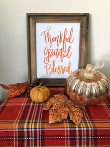 Thankful Grateful Blessed Hand Lettered Wall Art Print Kmoe Design Co.