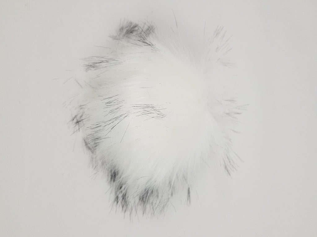 Fake Fur Pom Pom, white with black tips and snap attachement