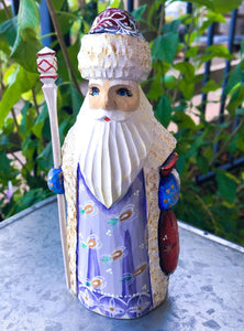 Carved Russian Santa- Red Coat with Lavender Front