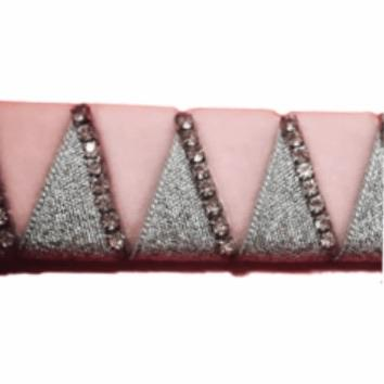 Ribbon Browband, Shark tooth, Pink, Silver