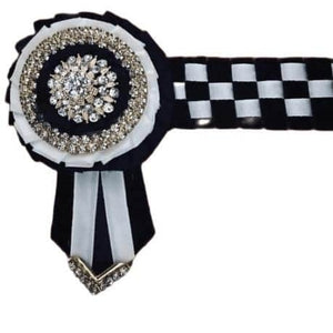 Show Browband, Checkerboard, Black and White