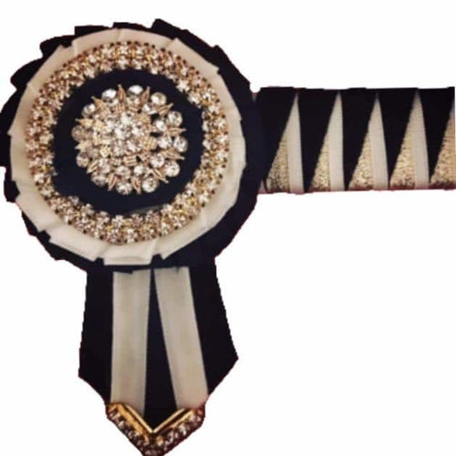 Show Browband, Shark tooth, Black, White, Gold
