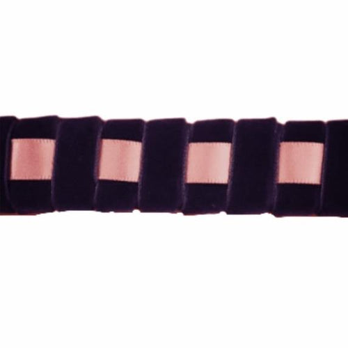 Ribbon Browband, Checkerboard, Pink, Purple