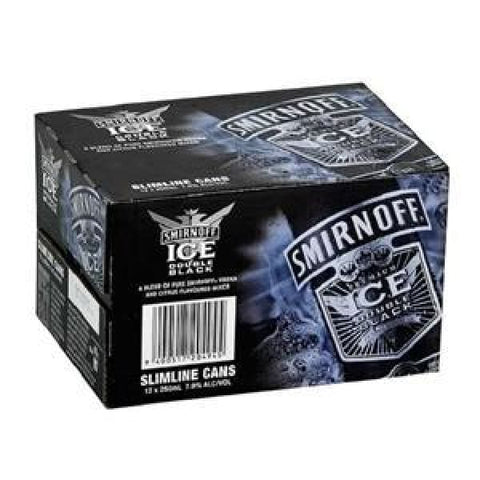 SMIRNOFF 7% DOUBLE BLACK ICE 12PK CANS 250ML - Rtds
