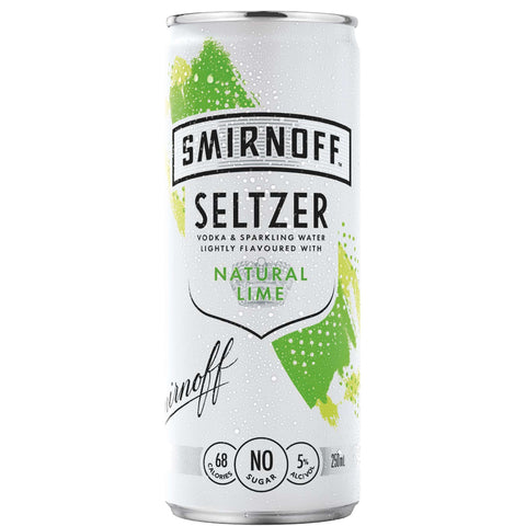 Smirnoff Seltzer Natural Lime 5% 250ml Can