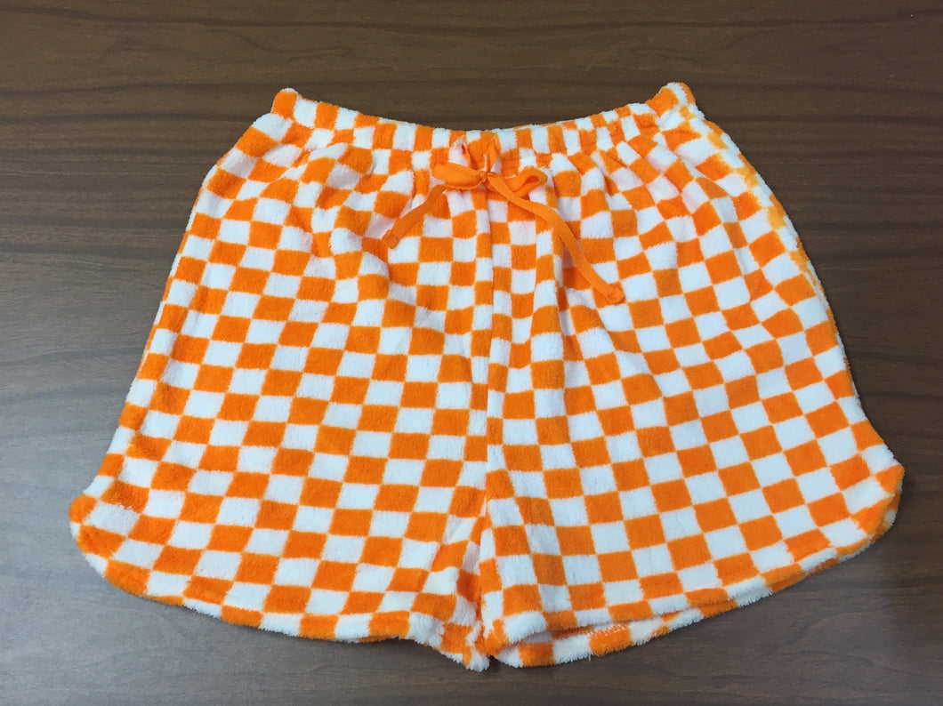 Women's Fuzzy Checkerboard Sleep Shorts