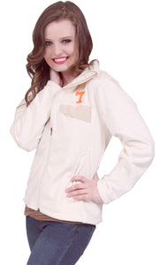 White TN Fuzzy Full Zip Snap Pocket Jacket