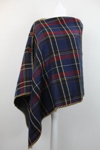 Tartan button side wrap/poncho