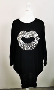 Sequin Lips Batwing Top
