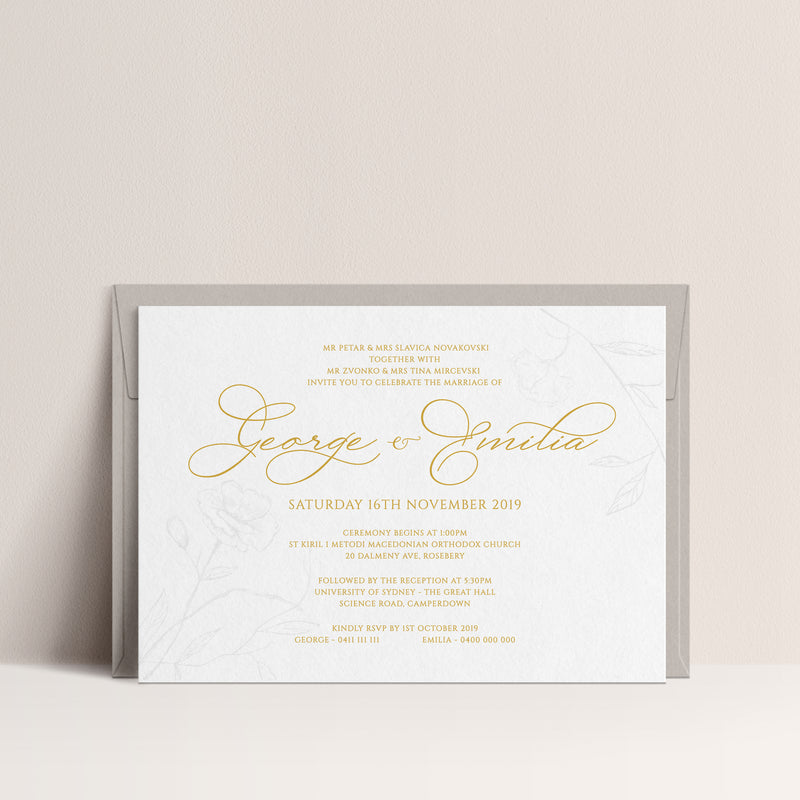 Emilia Hot Foil and Blind Letterpress Invitation