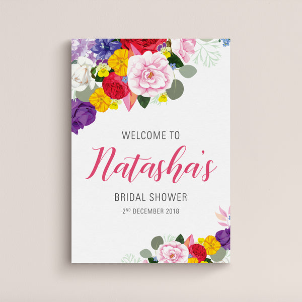 Natasha Bridal Shower Welcome Sign