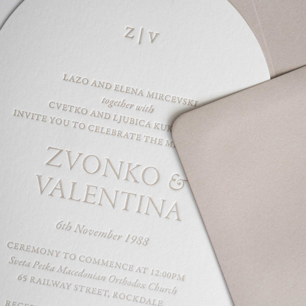 Valentina Arch Letterpress Invitation