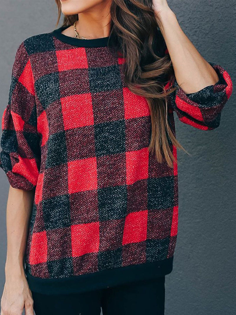 Casual Checkered/plaid Long Sleeve Round Neck Sweatshirt