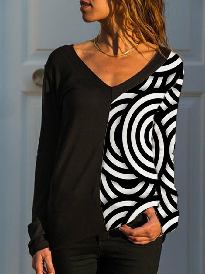 Black-White V Neck Printed Long Sleeve Casual Shirts & Tops
