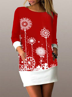 Red Crew Neck Long Sleeve Casual Geometric Dresses